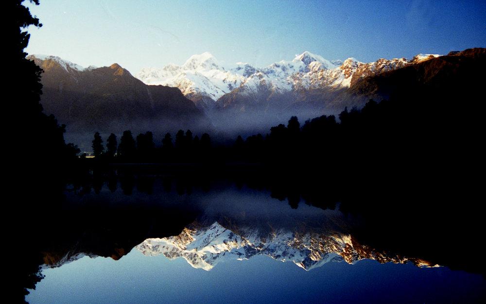 Lake Matheson and Mountains at Dawn