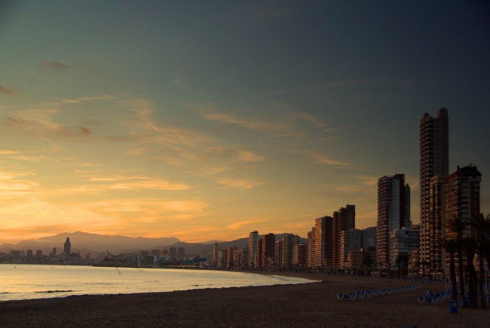 Benidorm at sunset
