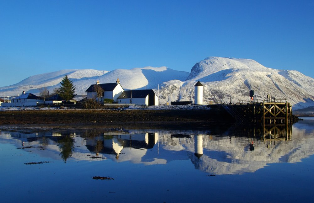 A snowy Ben Nevis from Corpach, near Fort William