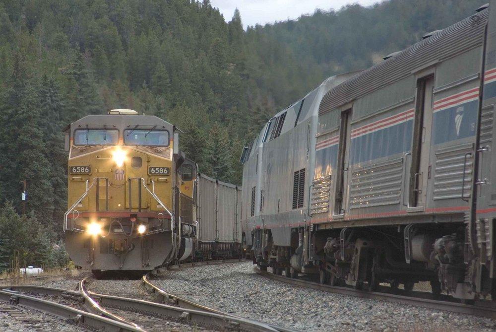 Amtrak Train #5 Meets A Coal Train