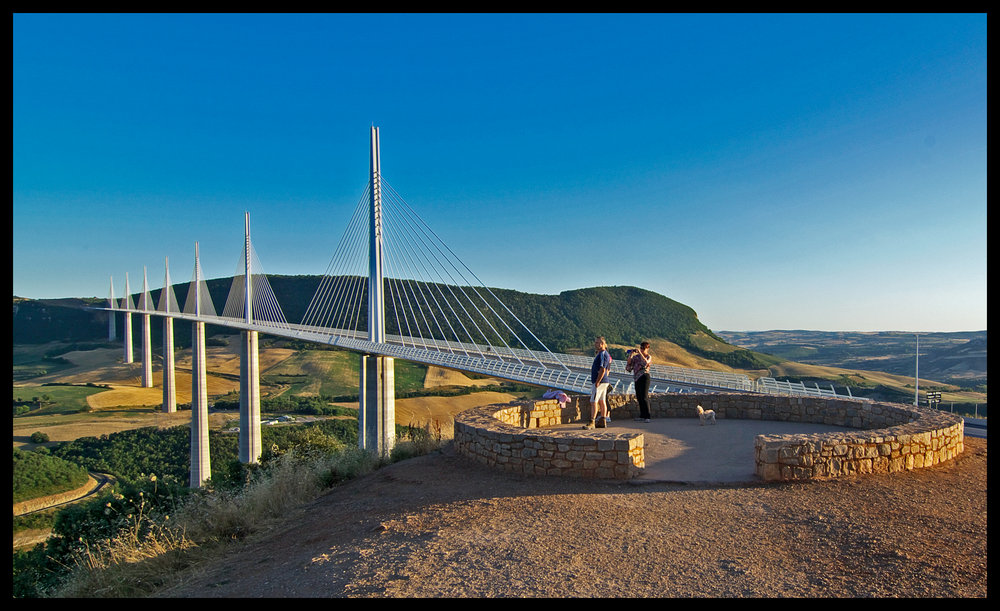 Sun setting on Millau Viaduct