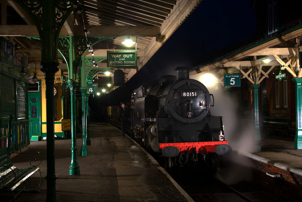 Steam at night and under the lights.