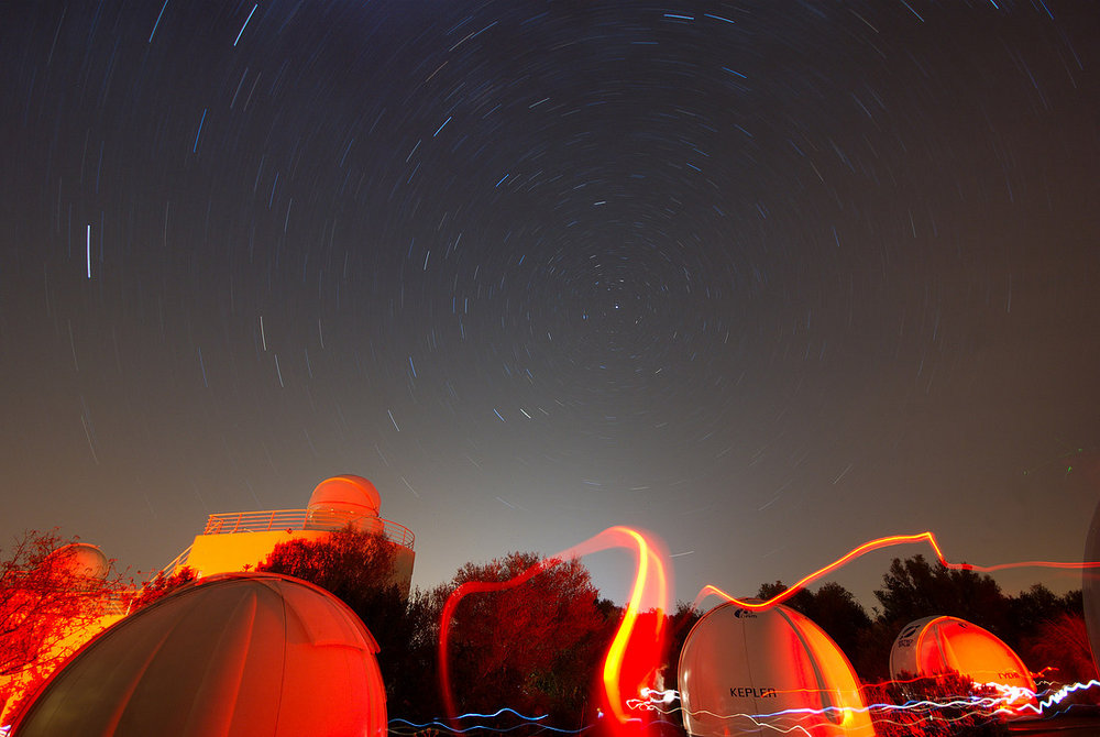 Star trail and observatory, Mallorca