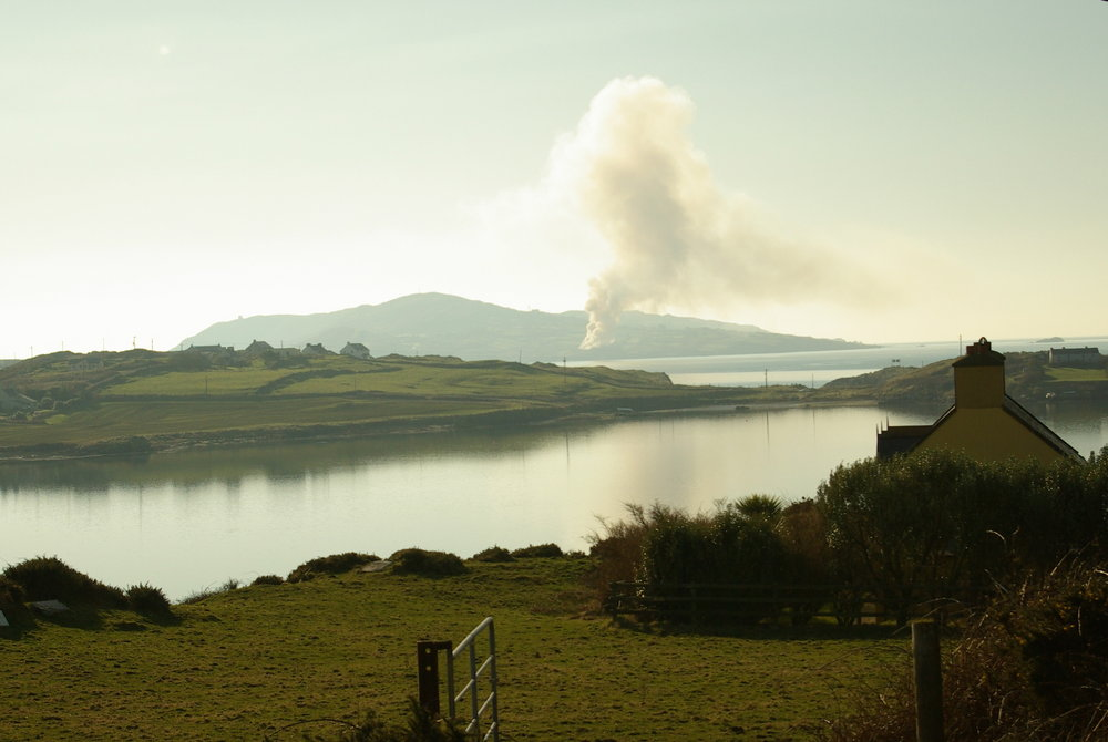 burning the gorse - Cape Clear seen from Sherkin Island