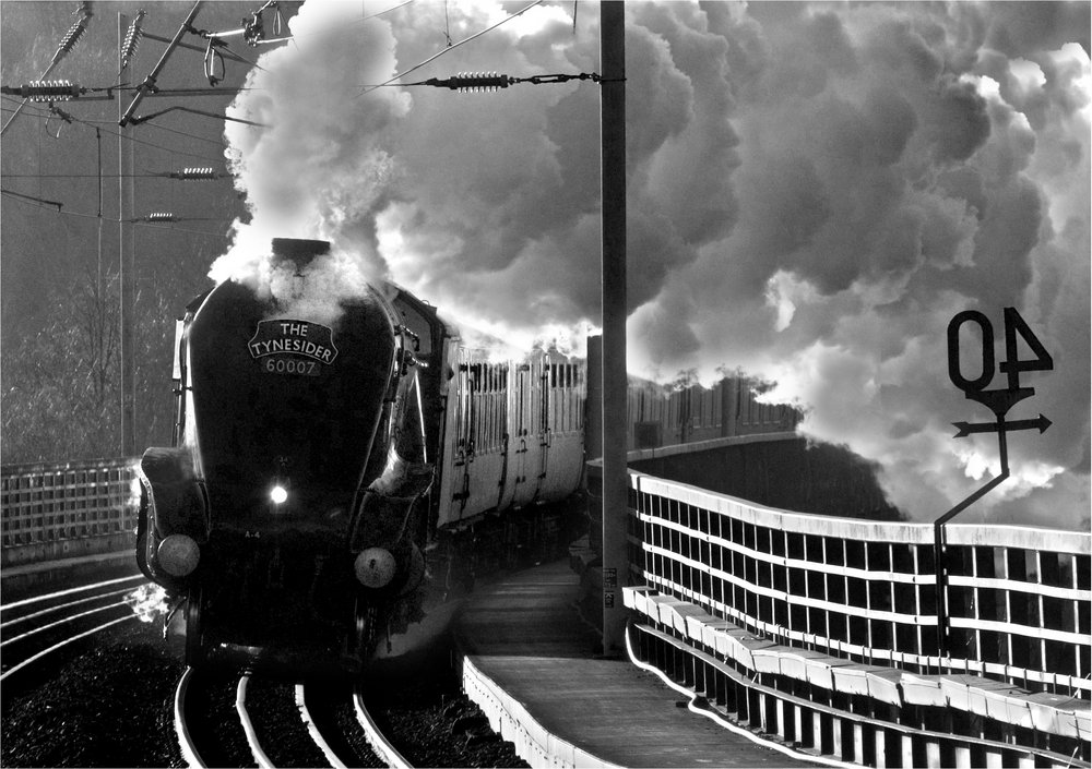 Steam and winter sunshine