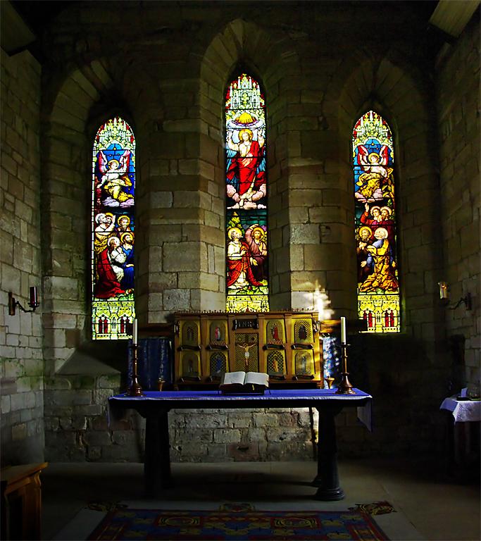 Altar & East window, St Marys, Lindisfarne