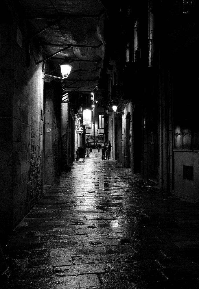 Narrow Street at Night in Mono