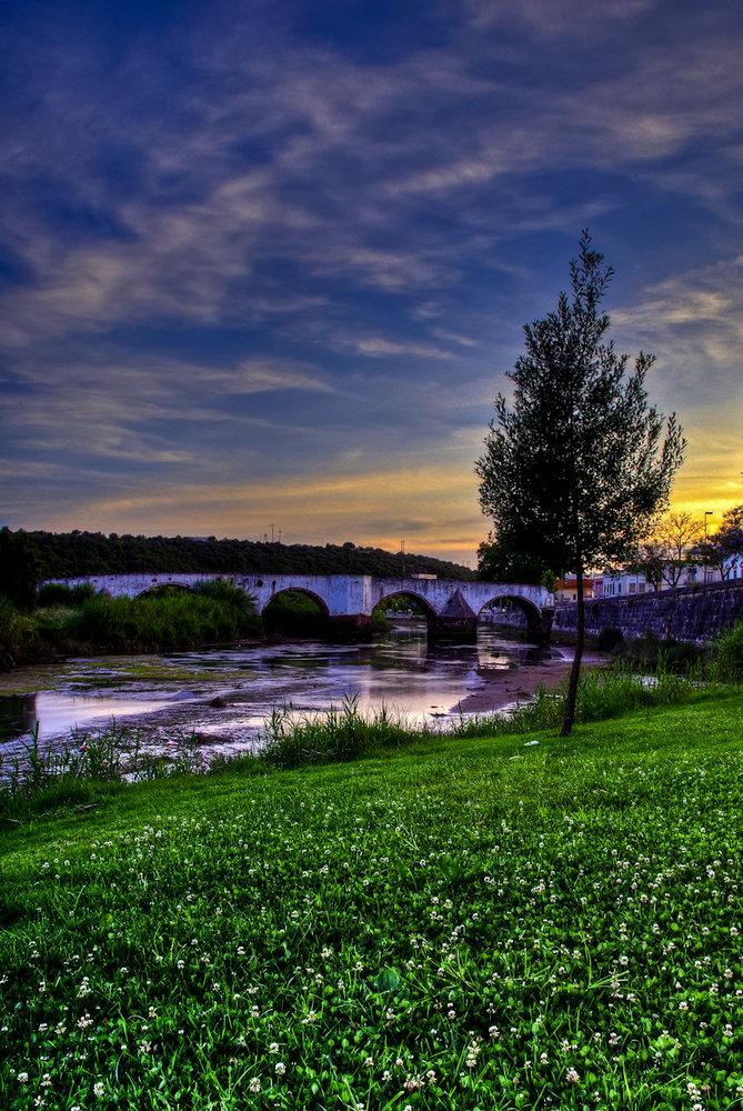 Sunset over the roman bridge