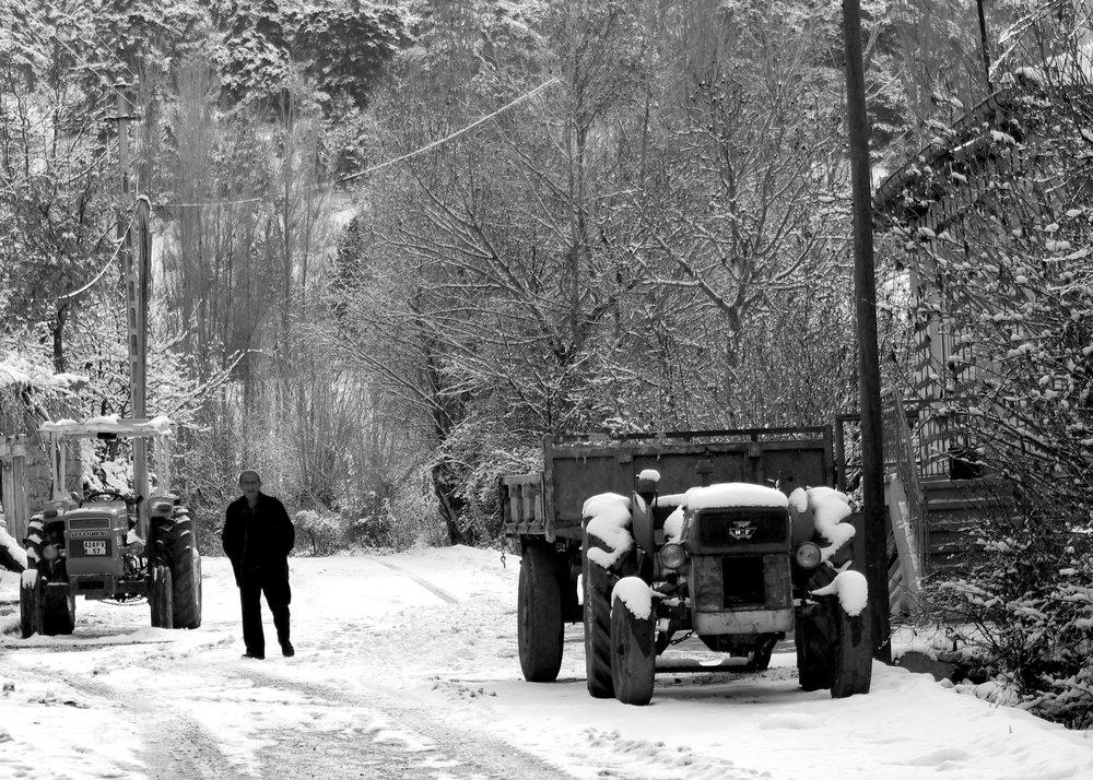 A Winter Scene in a Village