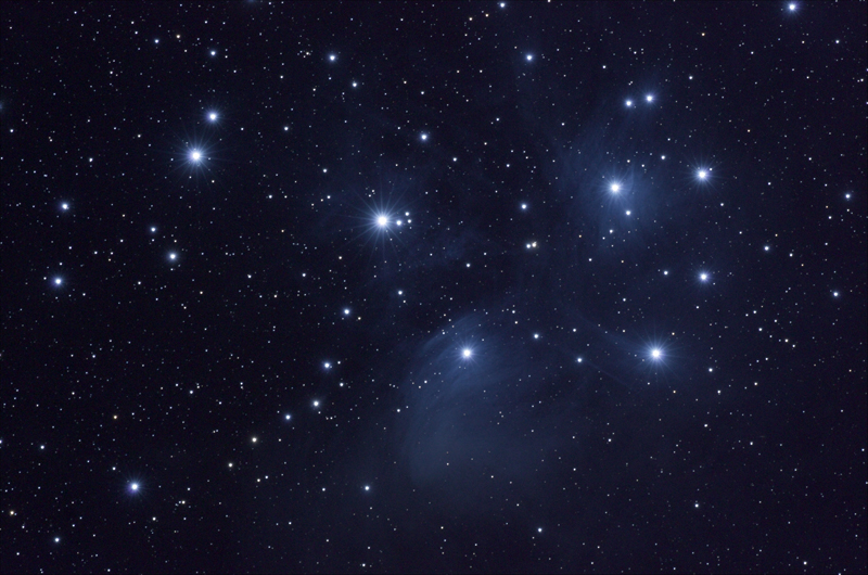 M45 Pleiades (Seven Sisters) Star Cluster (REPROCESSED)