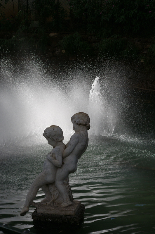 Play in fountain