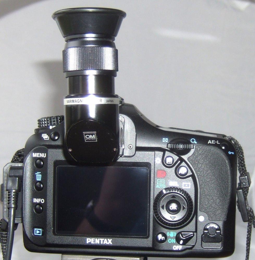 Olympus OM Varimagni angle finder on Pentax K20D