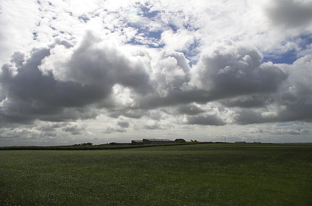 Across the hay field.