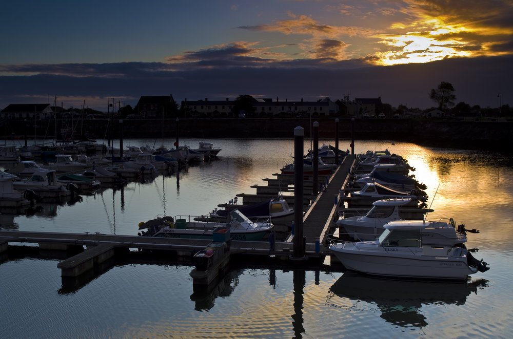 Burry Port harbour at sunset