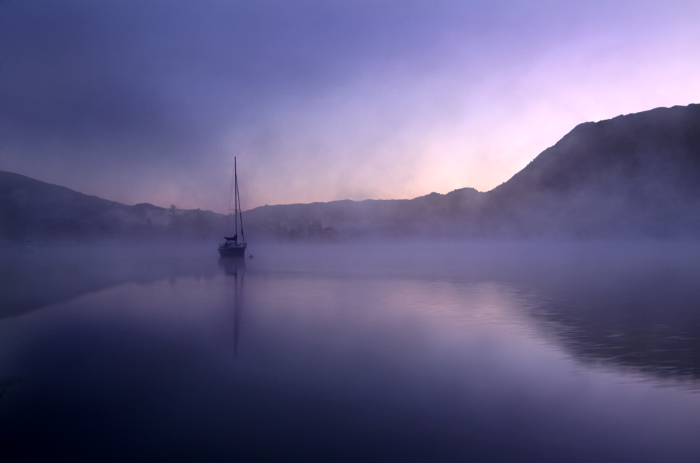 Yacht in Dawn Mist