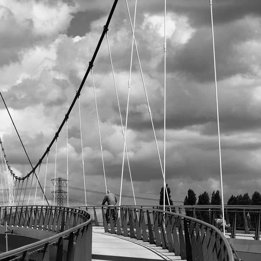 A man, his dog and a bridge.