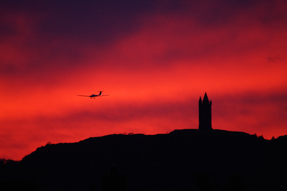 glider at dusk