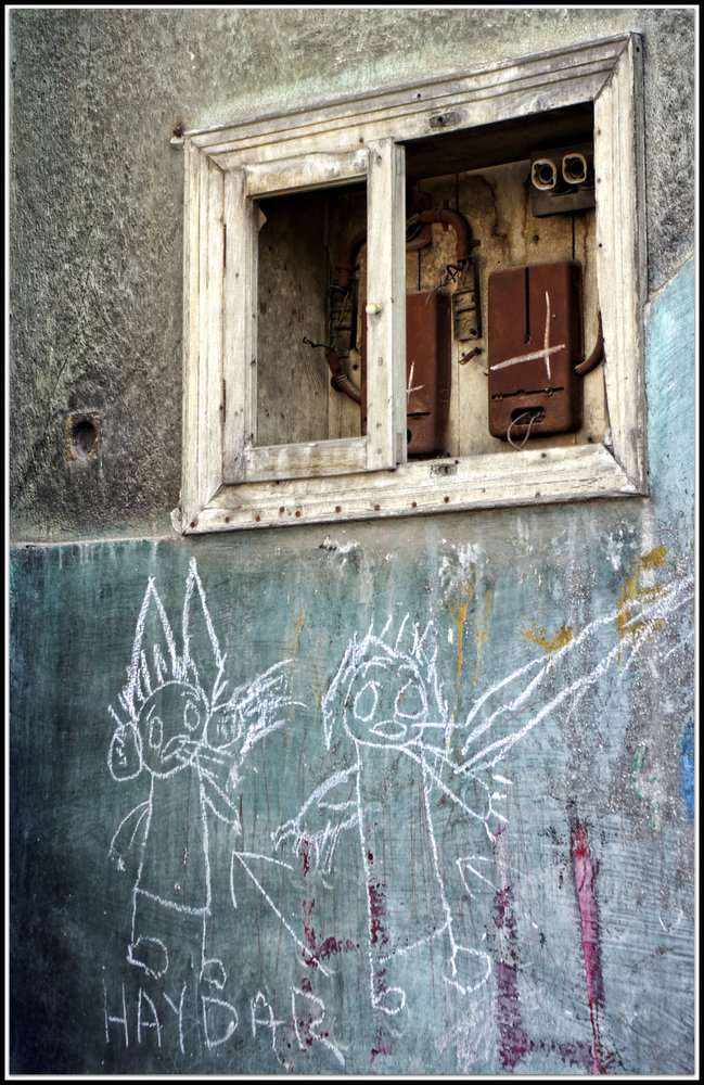 Old fuse Box with Children's Graffiti