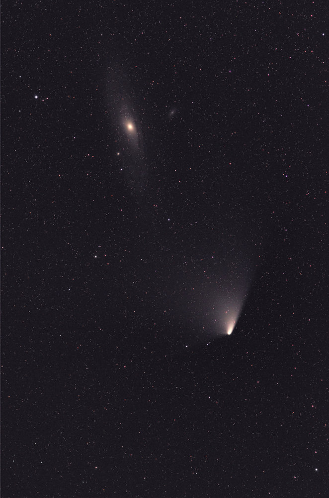 Comet C2011 L4 PanSTARRS & Andromeda Galaxy from Cheviot Hills