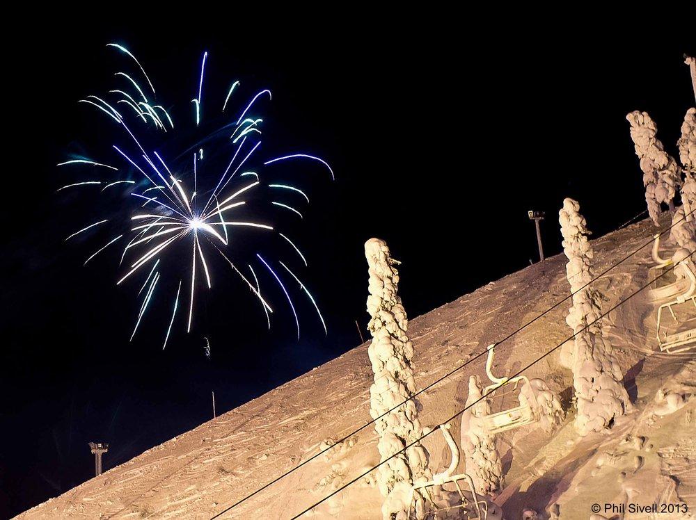 Fireworks on the ski slope