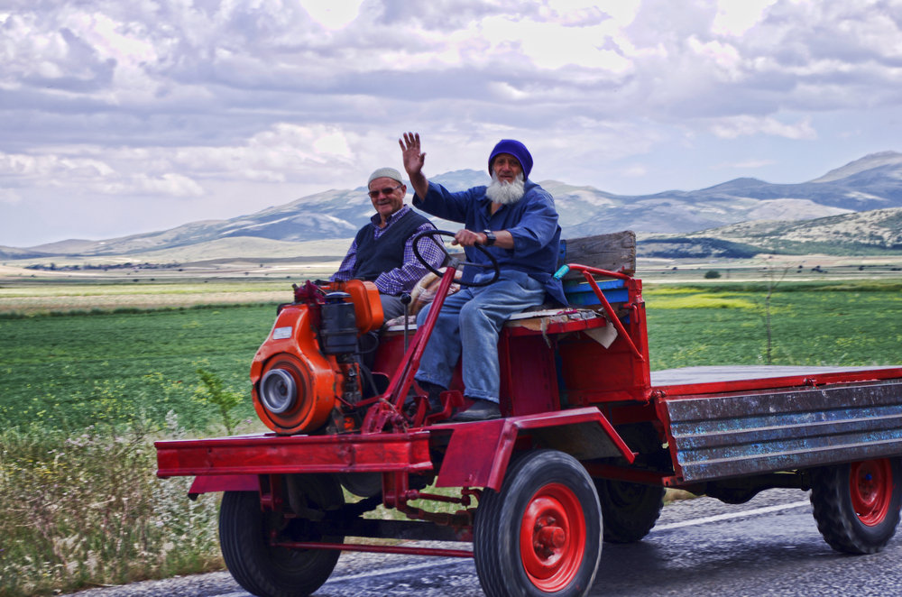 Two Old Timers on a Strange Vehicle II