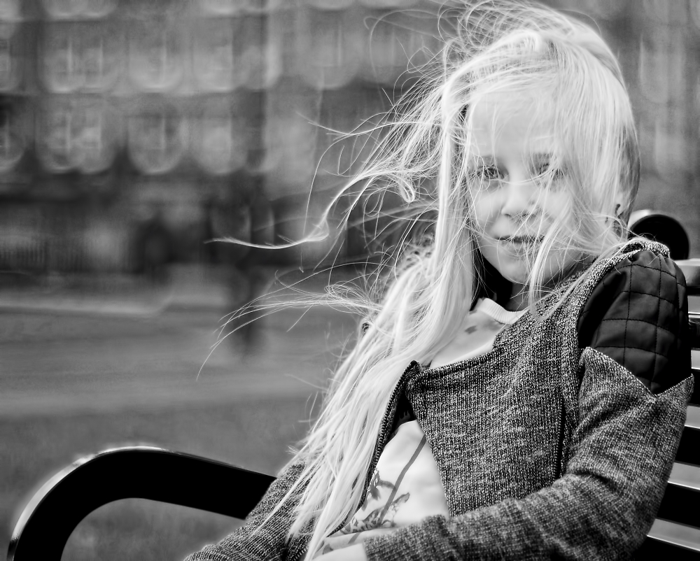 A girl with the wind in her hair.