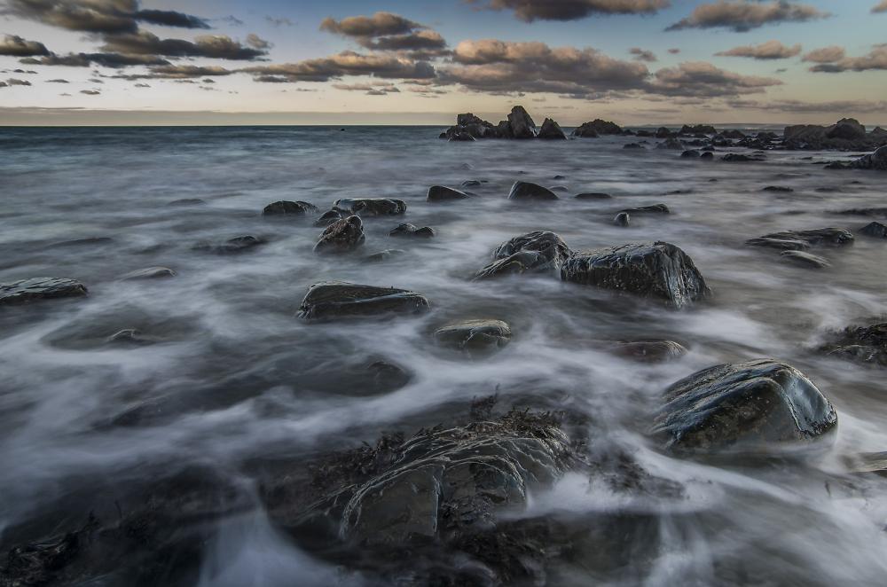 Black Church Rock Sea Scape