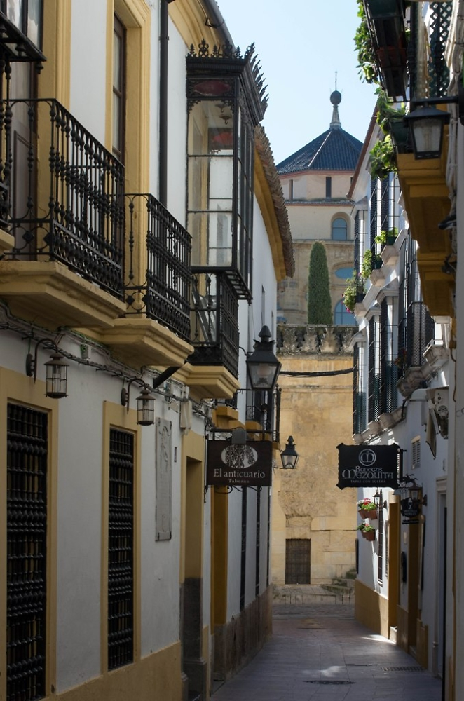 Cordoba- glimpsing the Cathedral from an alleyway