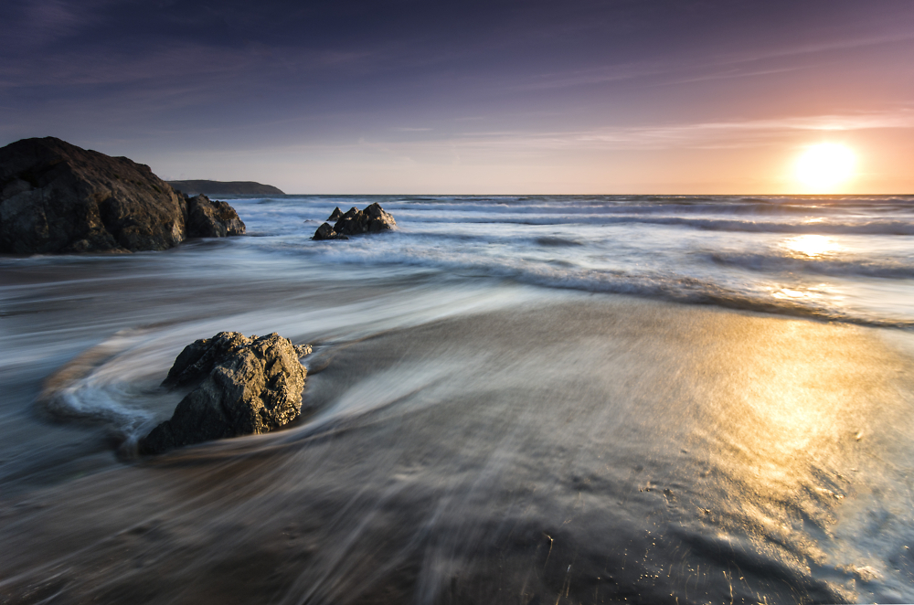 Sunset over Woolacombe Beach