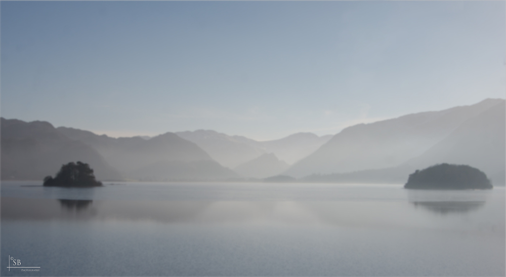 Derwent Water yesterday in a foggy Lake District