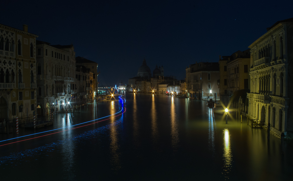The Grand Canal from the Accademia Bridge at night