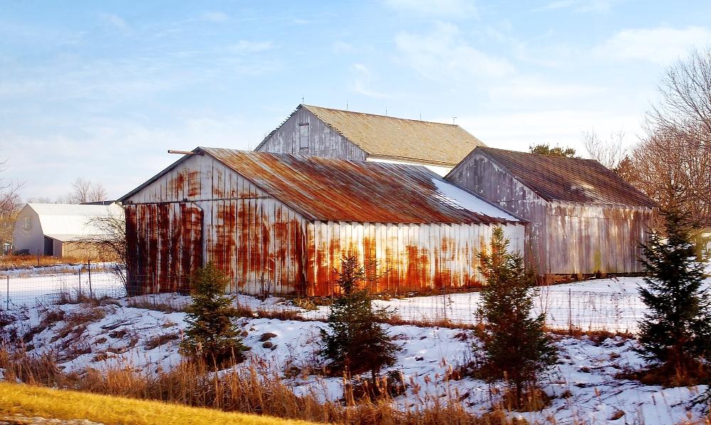 Wintery Barns Rural USA