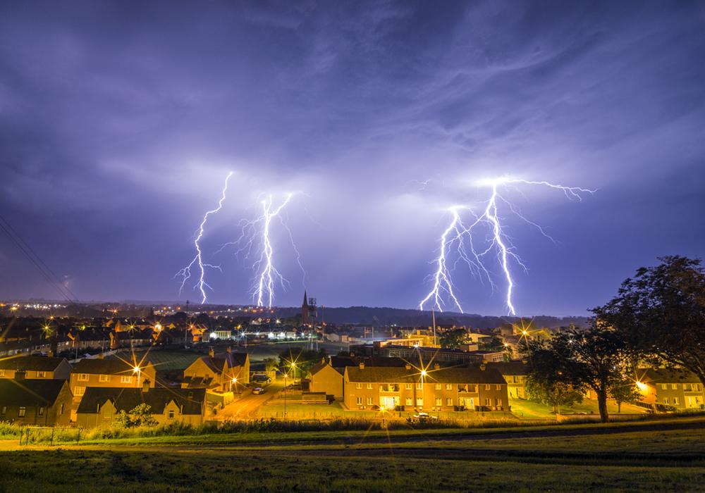 Lightning storm, Kelso, Scottish Borders, UK