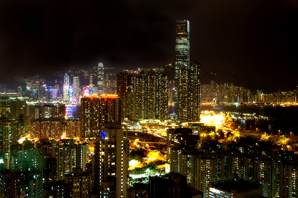 Hong Kong Island viewed across the straits from the Kowloon Penisular at night