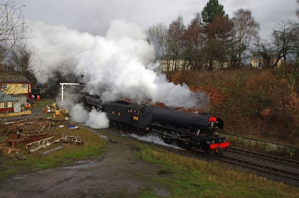 """""""Flying Scotsman"""" and """"The Lancashire Fusilier"""" leaving Bury"""