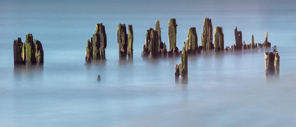Groynes at Pett Level beach, East Sussex