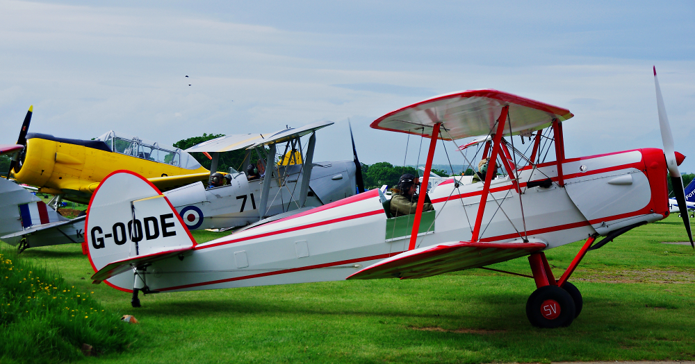 Stampe and Tiger Moth in the background and distant Harvard..
