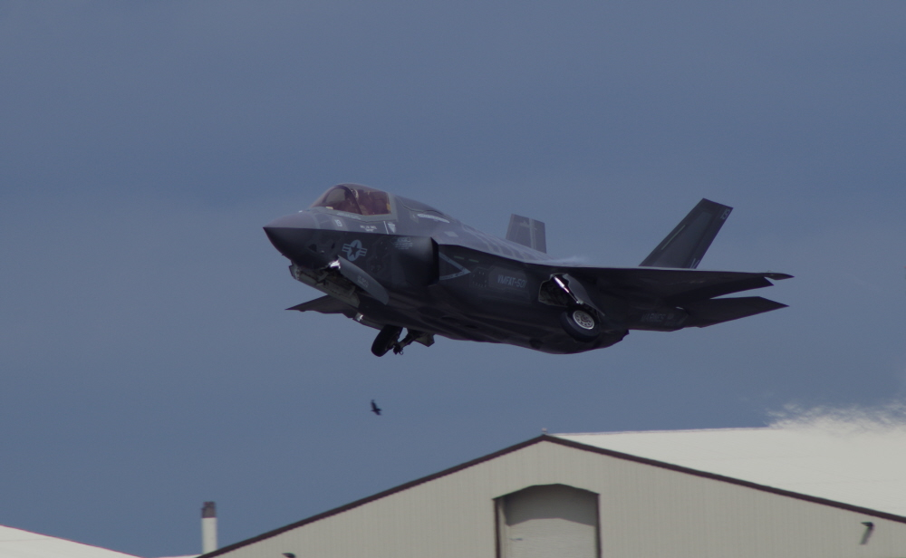 F-35B Lightning II cleaning up on take-off