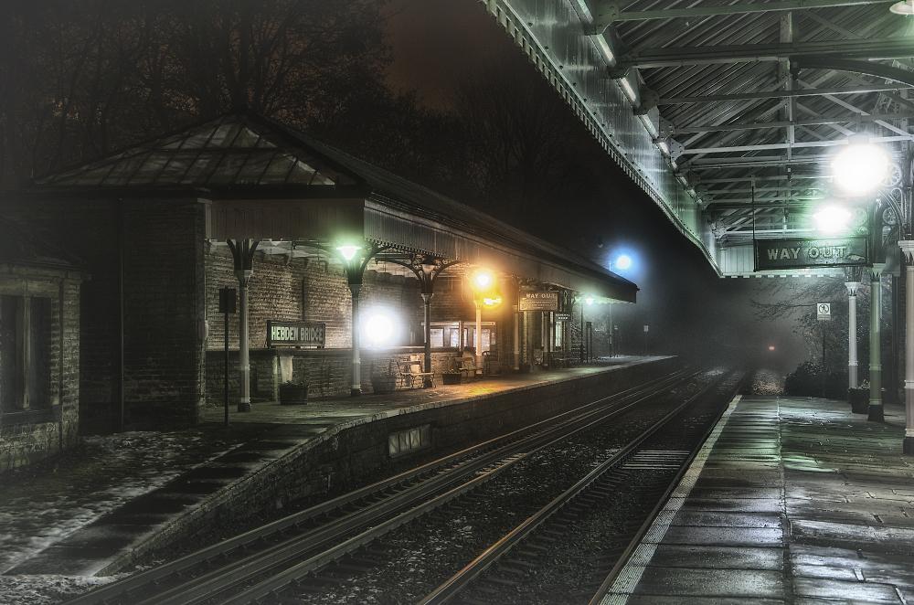 Hebden Bridge Station at Night