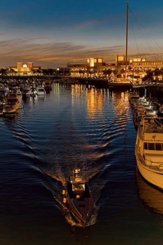 Patrol boat at twilight