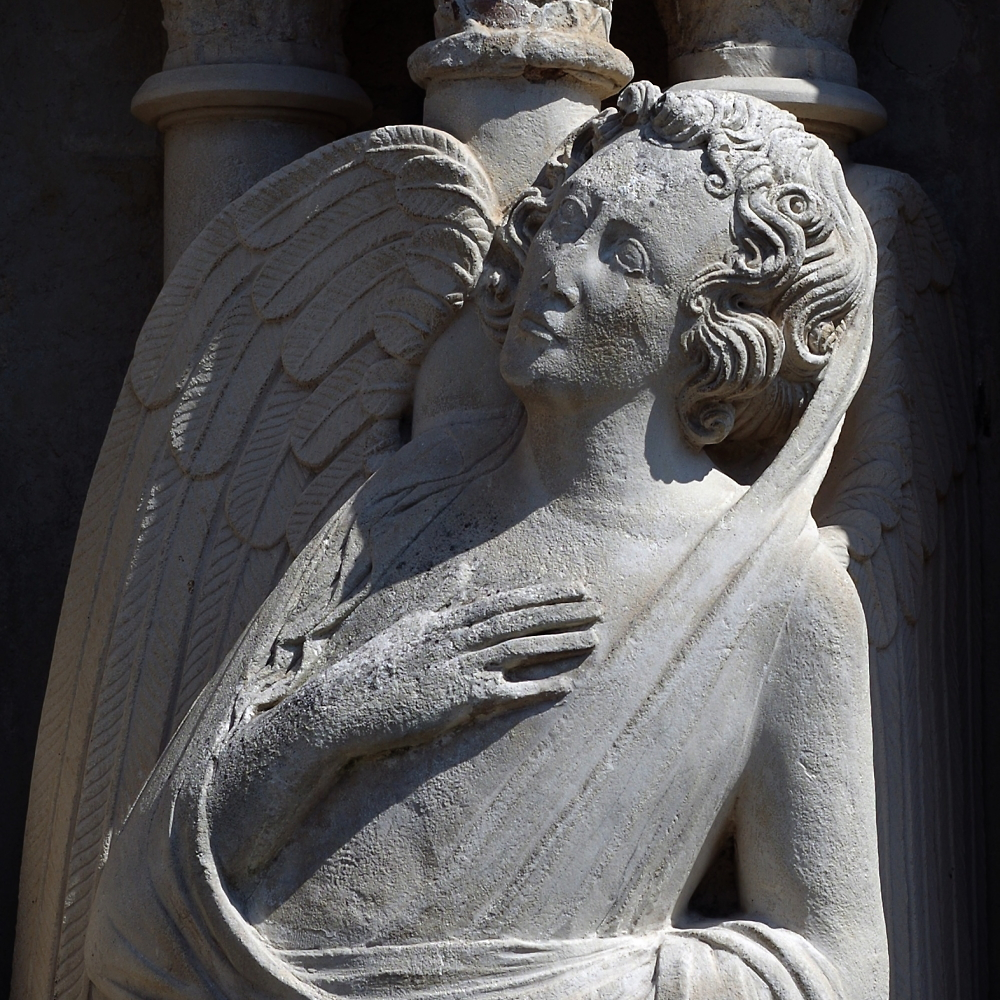Exeter Catherdral west facade Angel detail