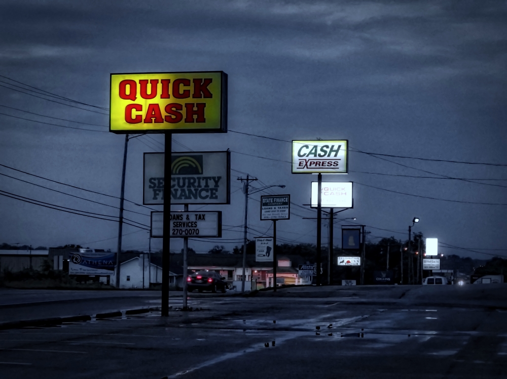 Night falls in small-town Tennessee