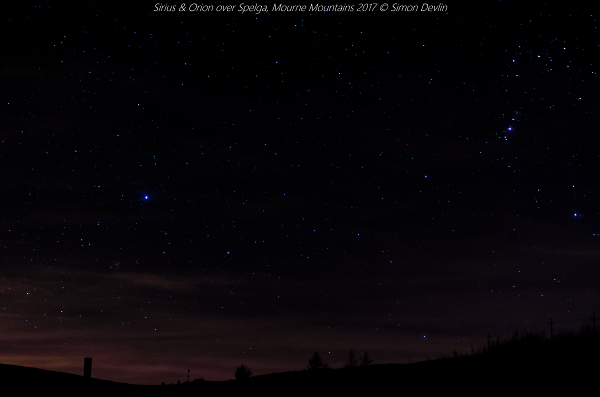 Sirius and Orion overlooking Spelga reservoir, Mourne Mountains
