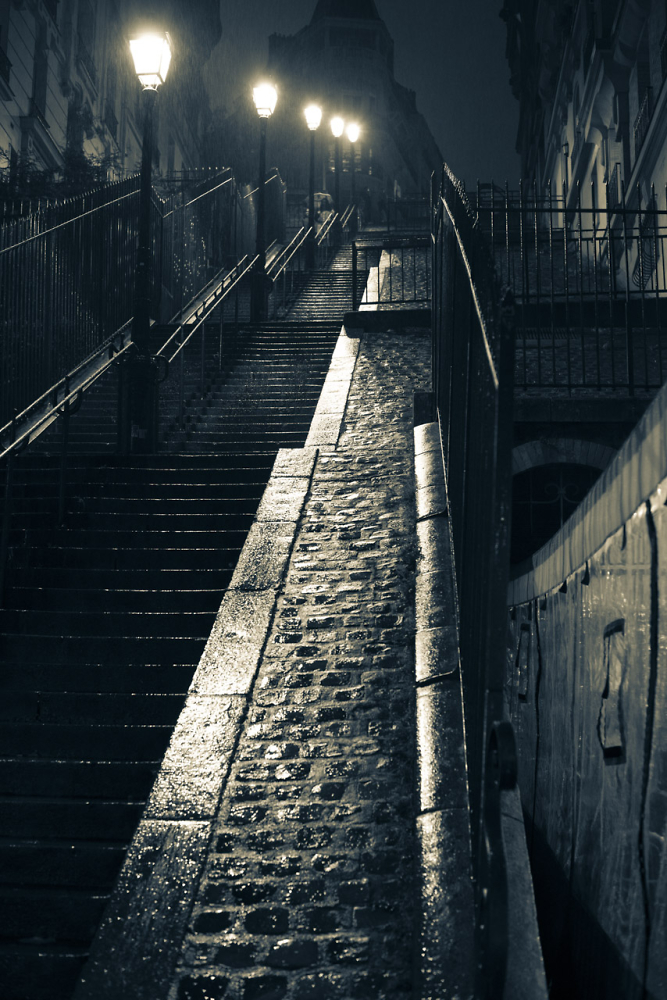 Montmartre staircase in the rain