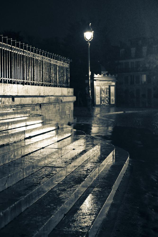 Wet steps outside the Sacre Coeur, Paris
