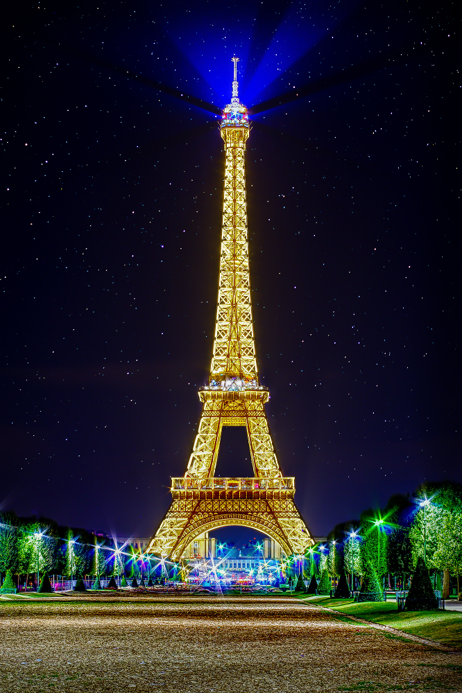 Eiffel tower with starry sky