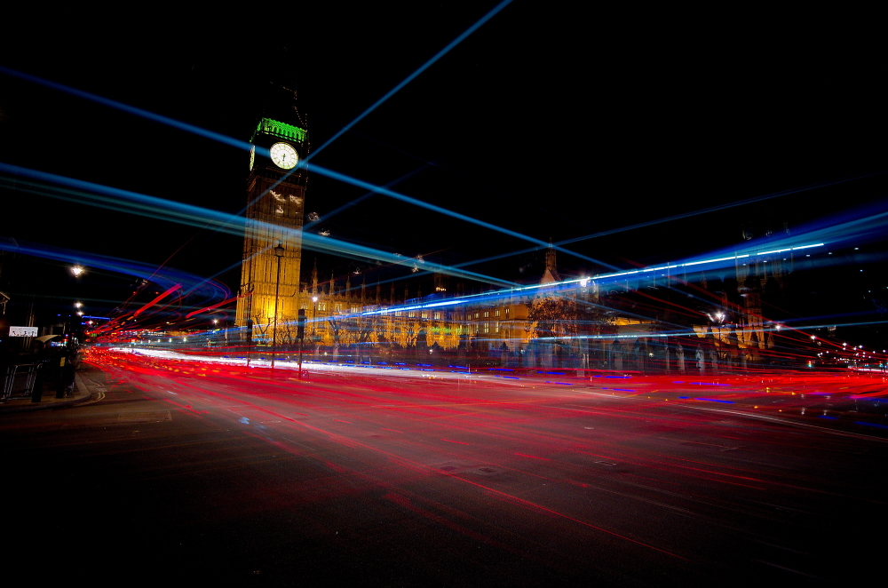 Westminster and light trails