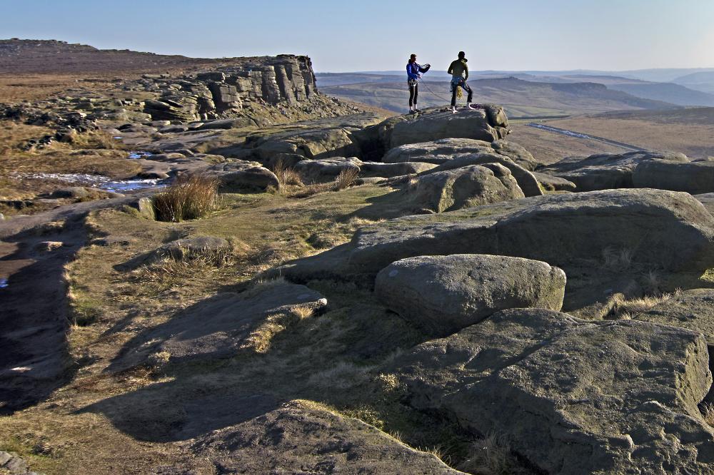 climbers on stanege Edge