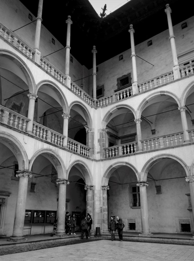 Inner courtyard of Wawel Castle, Krakow.
