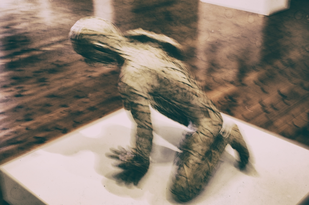 a recycled cardboard mummy